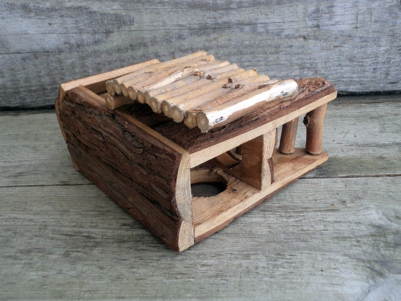 Unique Hand-made wooden cottage Collectible Primitive Hand crafted House House with Ladder Vintage Handmade Wooden House Doll House