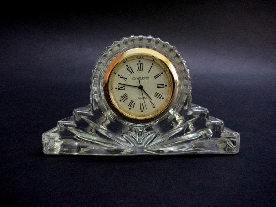 Vintage Glass Table Desk Or Mantel Clock OneWorld Quartz | Etsy