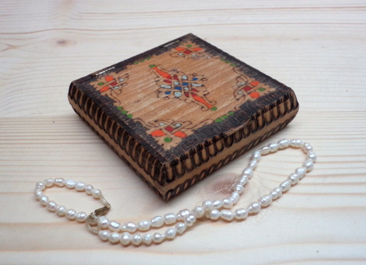 Vintage Flat Wooden Box Handmade And Hand Painted Box Small