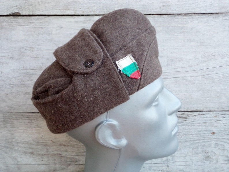 Vintage Army Hat Soldiers Wool Cap Old Bulgarian Military  4ee1db21cc88