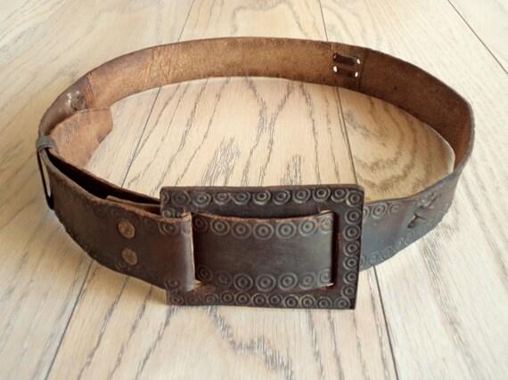 Old Genuine Leather Belt, Distressed Leather Belt,