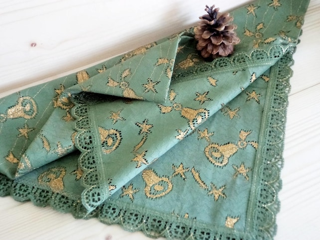 Vintage Christmas Tablecloth olive Green Tablecloth with Golden Bells and Stars made in Germany