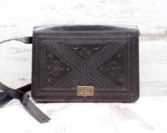 Vintage Women's Bag Atmosphere - Black Eco Leather Handbag - Atmosphere Shoulder Bag - Excellent condition Women's Bag