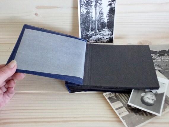 Vintage Small Photo Album Blue Faux Leather Album Black Etsy