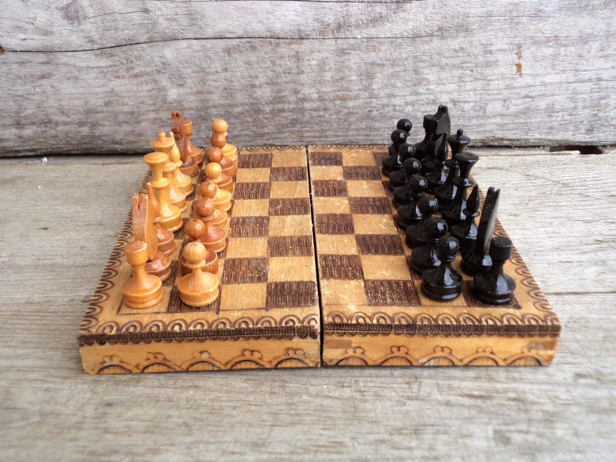 Wooden Chess Pieces Vintage Wooden Chess Full Set in Original Box Wooden Pyrography Box Chess Game Game Board Board Game