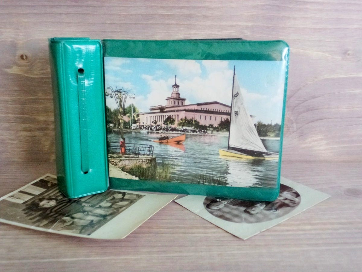 Vintage Small Photo Album Green Faux Leather Album Black Pages