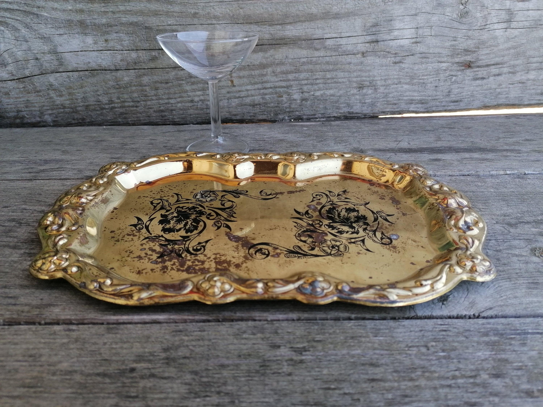 Vintage Brass Tray Ornate Brass Tray Decorative Tray Brass Tray With Black Flowers Barware Vintage Serving Vintage Bar Decor