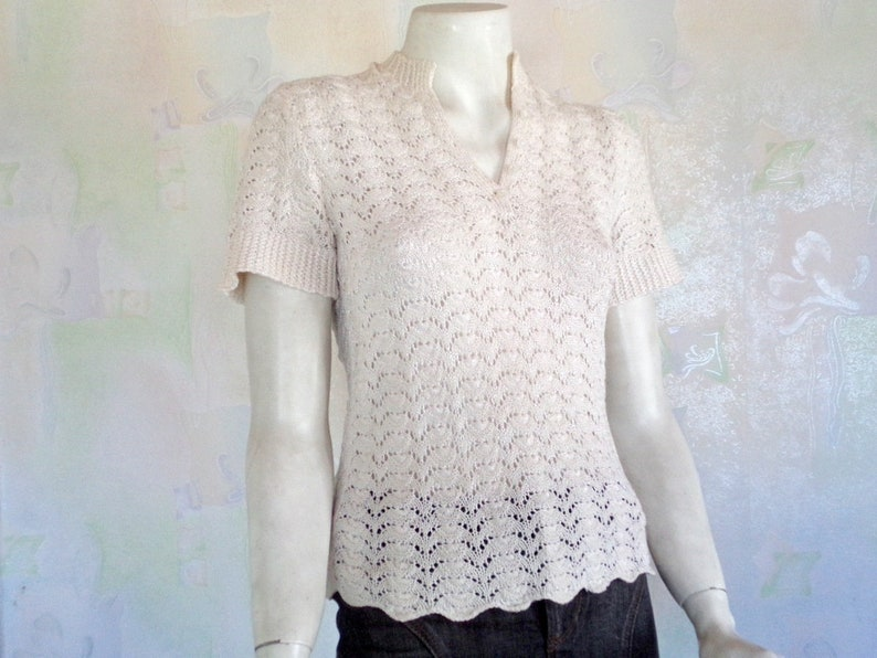 a1870cdb5bee Vintage Hand Knitted Ladies Blouse Summer Fashion Off white