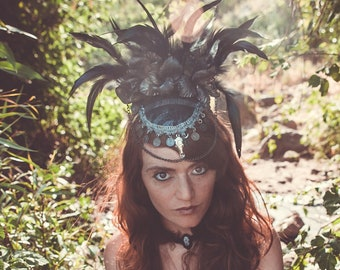 Black Feathered headpiece, raven headpiece, Tribal Headpiece, Burning Man headdress, Tribal Fusion Crown, Feathered headdress, Festival Hat