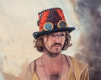 Red Top Hat, Festival Hat, Hat for Man, Steampunk Cylinder Hat, Burning Man Topper, Rock Star Hat, Slash hat, Unique Festival Hat,Mad Hatter