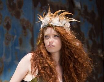 Moon Headpiece, Goddess Tiara, Burning Man Headdress, witch feathered headpiece, bejewelled headpiece, tribal Headpiece, festival headdress