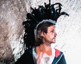 Feathered Mohawk, Unisex feathers mohawk, Burning Man festival, Viking headdress, Man's Headpiece, Headdress for man, Black Feather Mohawk