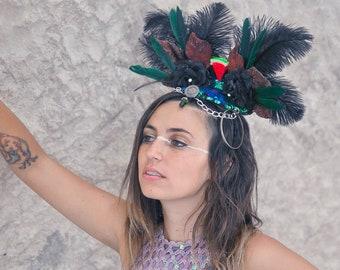Cabaret Headpiece, Watermelon Headpiece, Sparkle headdress, burlesque headdress, Ostrich feather headpiece, Festival Headpiece, Halloween