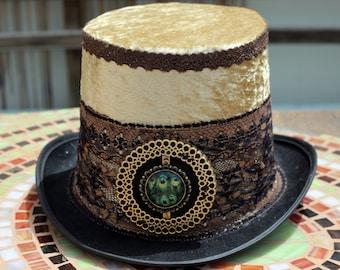 Venetian Gold Hat, Vintage Magician Top Hat, Mad hatter hat, festival Top hat, Hat for party, handmade hat, steampunk cylinder, burning man
