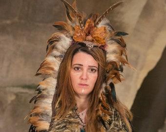 Goddess Headdress, Shamanic Headpiece, Natural Color Headpiece, Viking Headpiece, Festival Headdress, Burning Man, Burning Man feathers
