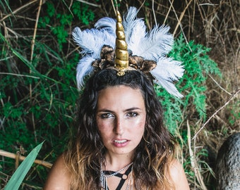 Gold Unicorn Headdress, Golden Unicorn Headpiece, fantasy showgirl, magical Feather headpiece, Burning Man, golden feathers, festival crown