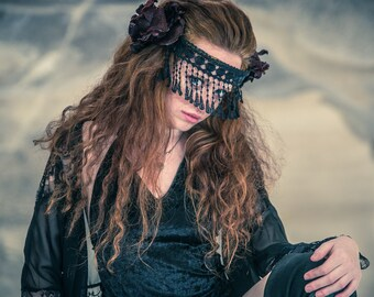 Exotic Face Fringe,Black face mask, Fringe mask, Burlesque, Masquerade, face chain, arabian mask, face vail, tribal goddess, face jewelry