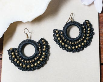 Macrame BOHO Earrings, Boho Chic Tribal earrings, Bellydance Earrings, Bohemian Spiritual dangle earrings,Festival Gypsy,Alternative Fashion