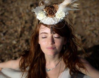 Wedding Headpiece, Lace Crown, Unique Wedding Headpiece, white Gothic Wedding headdress, boho Festival Tiara, Bohemian Wedding Headpiece