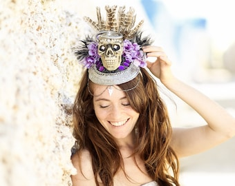 Sugar Skull Headpiece, Day of the Dead Halloween Headpiece, skeleton Gothic Headdress, Gothic skull crown, Colorful Fantasy Floral HeadPiece