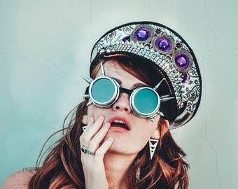 Burning Man Hat, Playa captain hat, Captain's hat, military style, sparkle military hat, fringe sequins sailor costume blazer cap, yacht hat