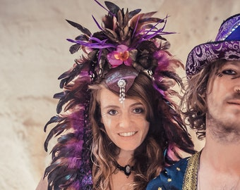 Goddess Headdress, Flower Feather headpiece, Festival Carnival headpice, Goddess Headpiece, Burning man festival, costume party head piece