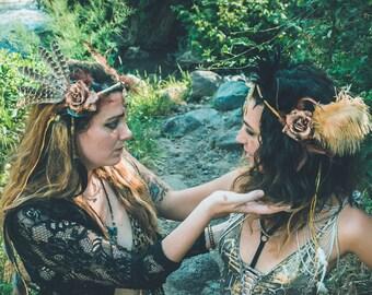 Bohemian Headpiece, festival headpiece, Hippie Headpiece, Feathered headpiece, Golden Hair tiara,Goddess Headpiece,Festival Tribal Headpiece