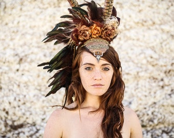 burning man headpiece, Feather Headdress, Festival Wear, shaman goddess headdress, Tribal Feathered crown, dark beauty fashion, boho chic