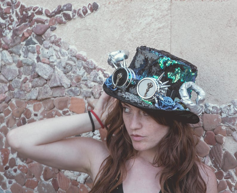 90872809223e4 Sequins Top Hat pastel goth Hat and Googles Burning man