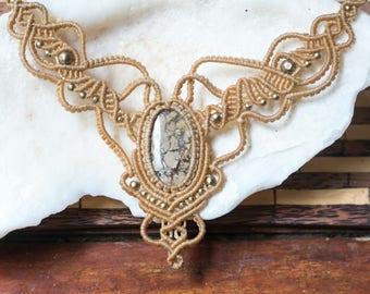 Macrame Lace Necklace, Crystal Necklace,  macrame charm, gemstone necklace, Handmade macrame jewelry, healing stone jewelry, Ethnic necklace