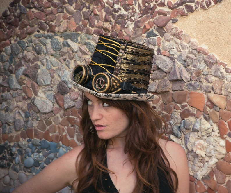Brand New Burning man Costume Dress up Steampunk Brown TOP Hat Halloween Party