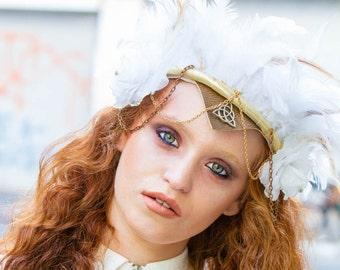 white gothic tiara, witch headpiece, goddess headpiece, woodland headpiece, fairy tiara, medieval crown, hair accessories, warrior crown