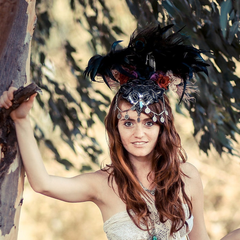 Feathered Festival Headpiece Burning Man Headpiece Nymph image 0