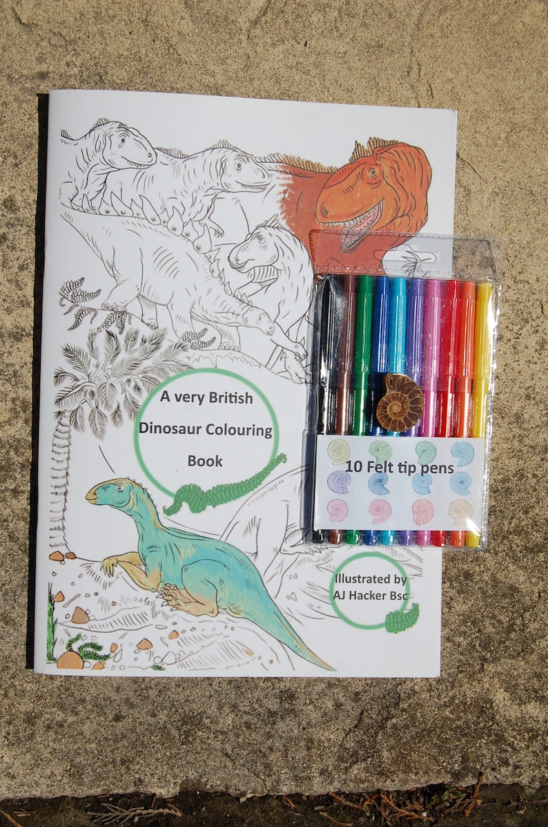 Dinosaur /& Washable Felt Pens Dinosaurs Colouring /& Activity Book