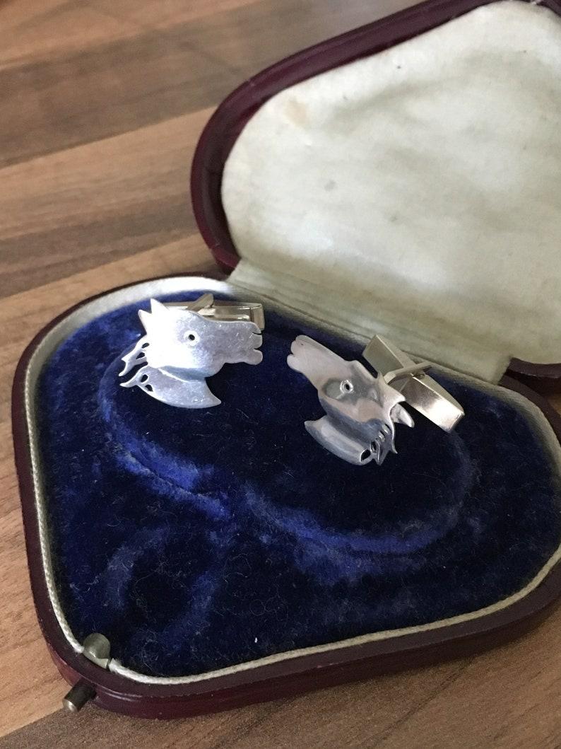 Gorgeous Vintage Marked Sterling Silver Horse Head Cufflinks 6.30gr