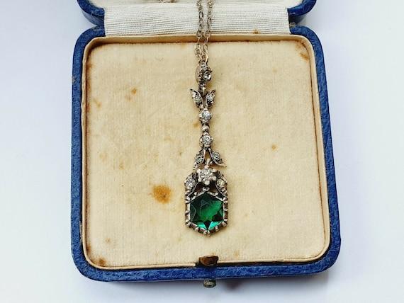 Antique Victorian Fine Silver & Paste Drop Necklac
