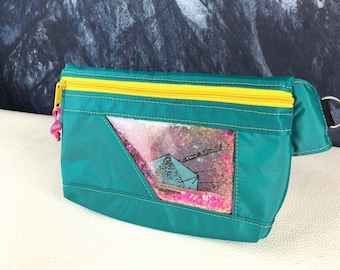 Teal and Clear Glitter Fanny Pack