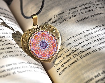 Wellness jewelry, mandala necklace, moon and stars, love lettering, weath talisman, gift for daughter, good energy necklaces, thanksgiving.