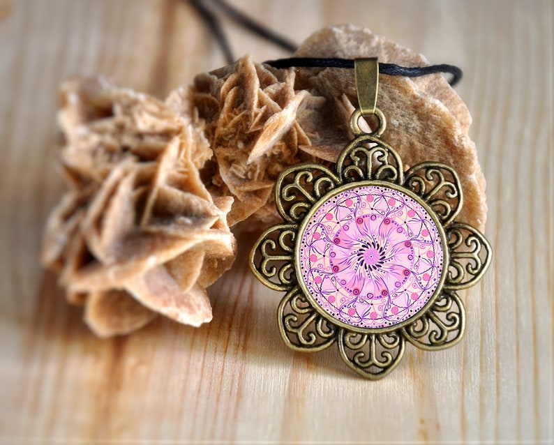 Necklace with pink mandala mentalhealth support pendant with image 0
