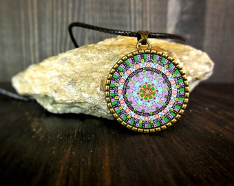 Mandala buddhist necklace, wellness jewelry, womens health amulet, gift for young girls, calm jewel, 3 year anniversary gifts for husband.