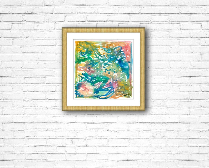 wife birthday gifts for best friend her mom watercolor artwork contemporary colorful art. italian artist Abstract modern painting