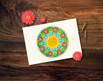 Biglietto di auguri con mandala dipinto a mano con acquerelli; mandala con chakra Svadhisthana, ideale come idea regalo.