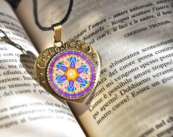 Mandala Svadhisthana chakra, get well token, fashion pendant, energy medallion, love lettering, gift for wife, mom, christmas present, aunt.