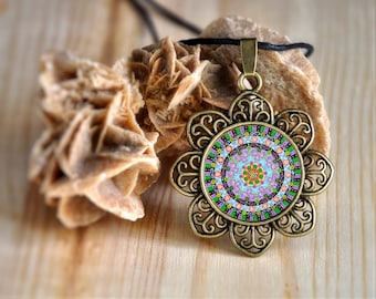 Mandala necklace, flower shaped, peace of mind, good luck talisman, balance and harmony, yoga coach, mother, birthday gifts, for mom, aunt.