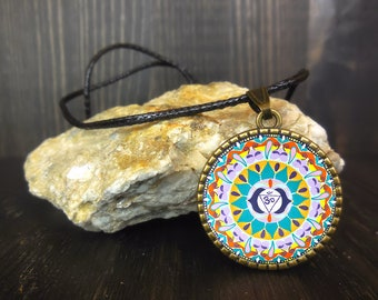 Mandala necklace, ajna chakra, mental health awareness jewelry, meditation accessories, esoteric, get well token, friends, good wishes.