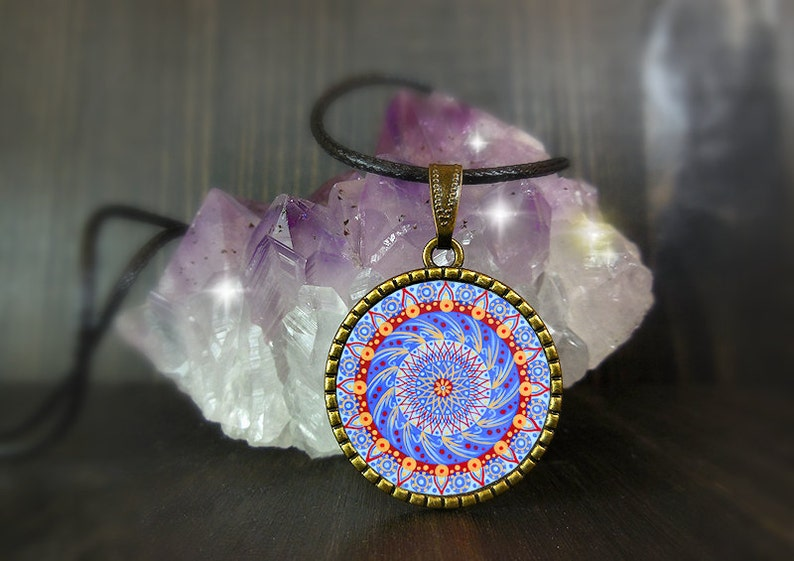 Art print new age necklace with mandala spiritual jewel ideal image 0