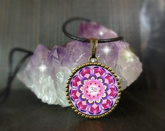 Sahasrara chakra necklace, pink mandala om, birthday gift for far away friends, bridesmaid boho gifts, cheap present for young girls, aunt.