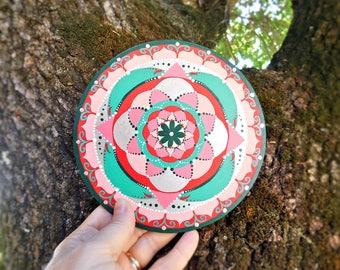 Mandala painting, womans sacred geometry, wellness and health, decor holistic center, yoga teacher gift, wall decoration for girl room.