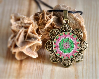 Mandala zen jewelry, yoga gifts for teacher, womens necklace, good energy pendants, wellness and relaxation, jewels with meaning, new age.