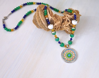 Necklace for women delicate, stones and cristal, agate jade, mandala pendant, gift for mom from daughter, buddha eyes, christmas present.